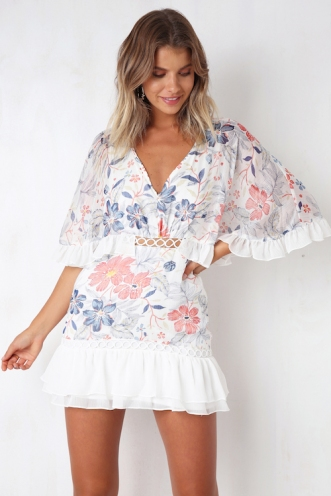 Hopes and Dreams Dress - White/Pink Floral