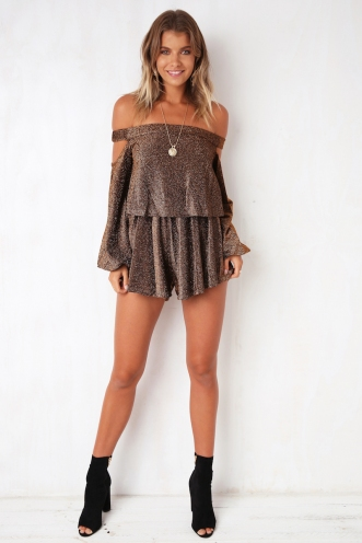 Shake and Twist Playsuit - Black/Gold Shimmer