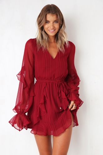 Skylight Dress - Maroon