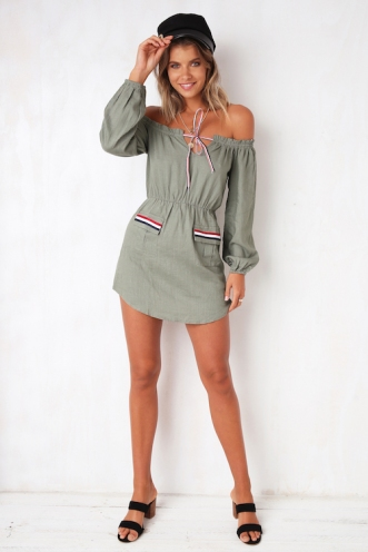 Go The Distance Dress - Khaki