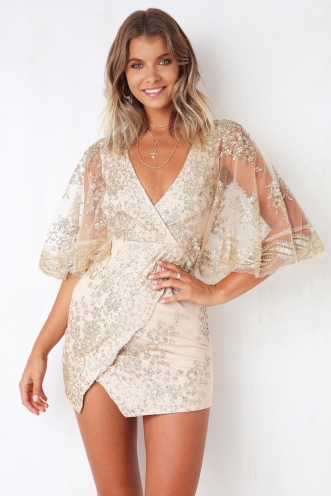 Brave Heart Dress - Gold Glitter