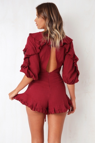 Ballpark Playsuit - Maroon