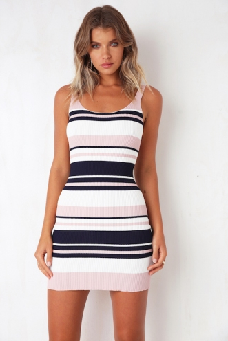 Pair Up Dress - Pink/Navy Stripe