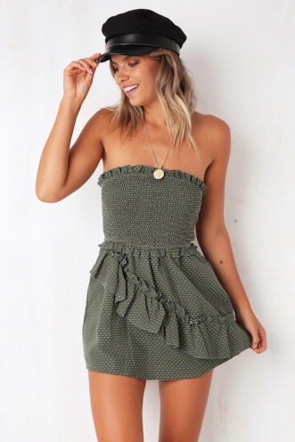 Big Believer Playsuit - Khaki Spot