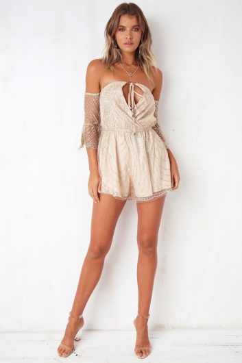 Rise and Shine Playsuit - Champagne