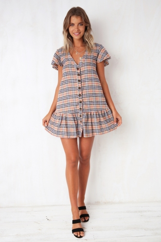 Rose Thorn Dress - Beige Check