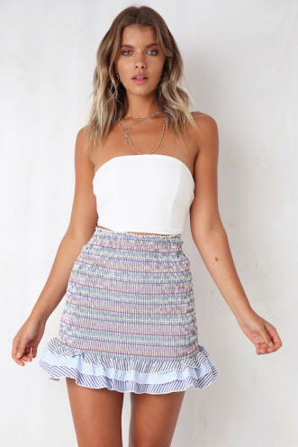 Funfetti Skirt - Mix Blue Stripe