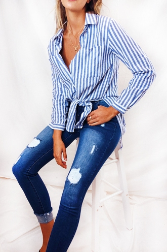Wheelhouse Shirt - Blue/White Stripe