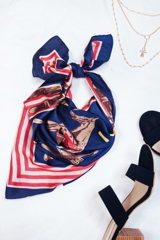 Saddle Club Scarf - Navy Horse Print