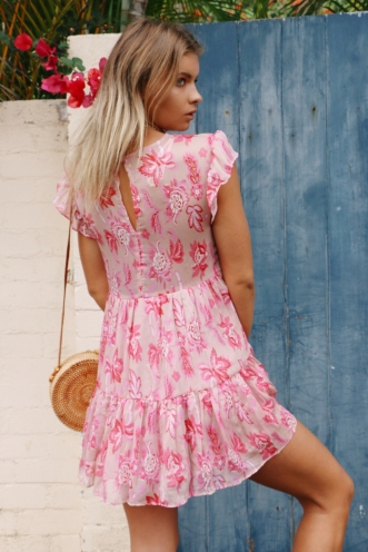 One Step Dress - Pink Print