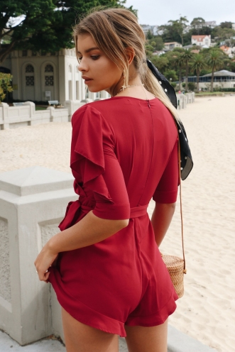 Riding Solo Playsuit - Deep Red
