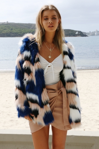 One Love Faux Fur Coat - Mix Blue