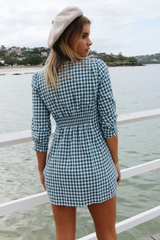 Nice Girl Dress - Green Gingham