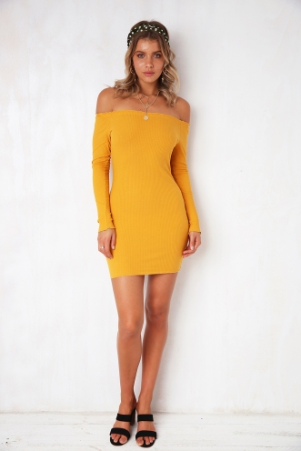 Bad To The Bone Dress - Mustard