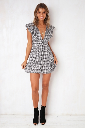 Tammy Dress - Black/White Check