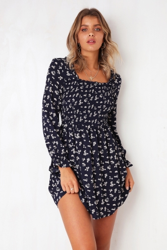 Amy Dress - Navy Print