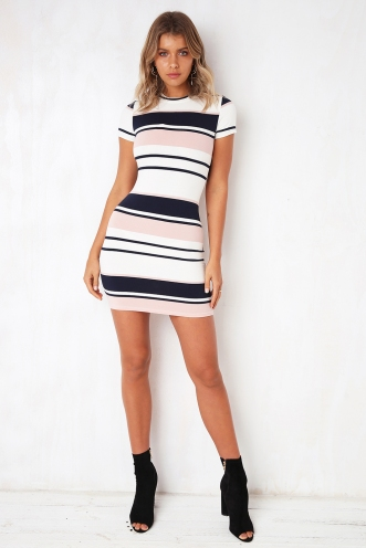 Be Somebody Dress - Pink/ Navy Stripe