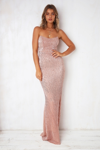 G-L-A-M-orous Dress - Rose Gold