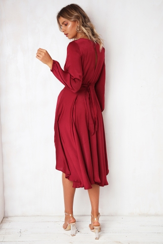 Dance With Me Dress - Maroon