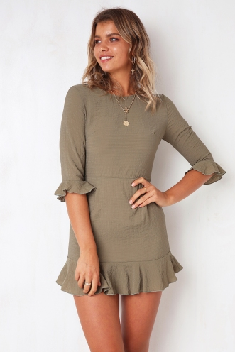 Slow Dance Dress - Khaki