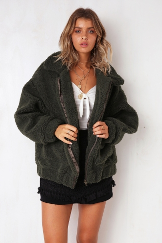 About Time Teddy Jacket - Khaki