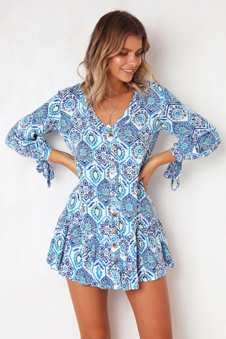 Open Sea Dress - Blue Print
