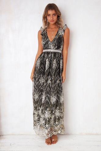 Shine On Dress- Black Sparkle