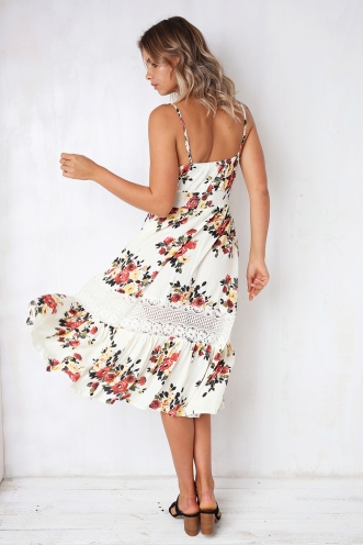 Spring Has Sprung Dress- Nude Floral