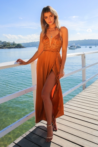 Lara evening dress - Rust