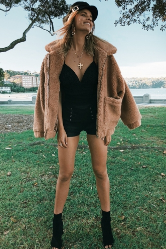About Time Teddy Jacket - Tan