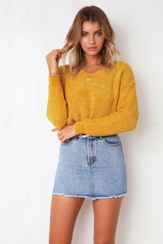 You And I Chanille Jumper - Mustard