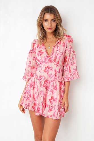 Changing Heart Dress - Pink Print