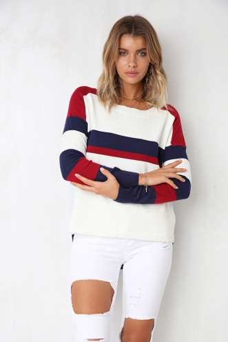 Prep School Jumper - White/Red/Navy