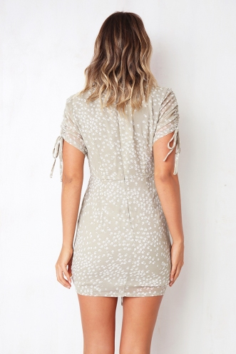 Too True Dress - Light Khaki Print