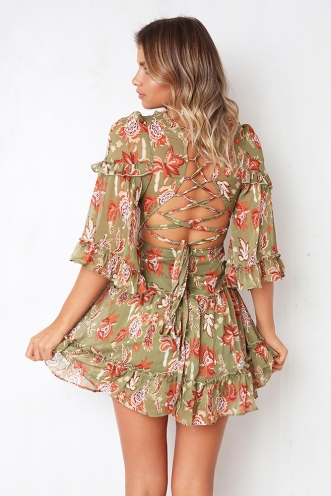 Changing Heart Dress - Khaki Print