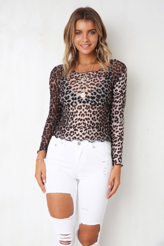 On The Prowl Top - Leopard Mesh