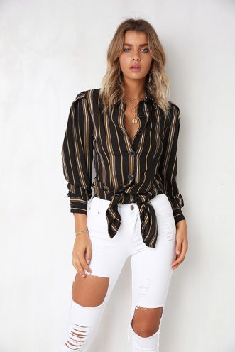 Beccy Shirt Dress - Black/Mustard Stripe