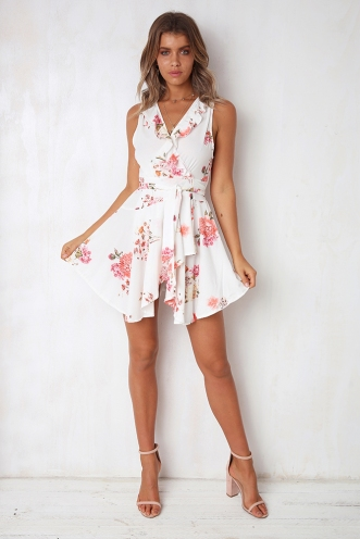 Cass Wrap Dress - White Pattern