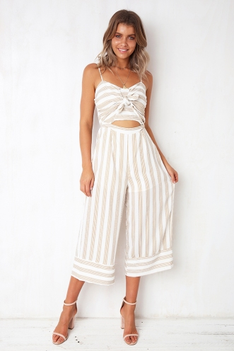 Time After Time Jumpsuit - White/Gold Print