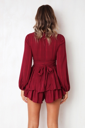 Truly Madly Deeply Playsuit - Wine