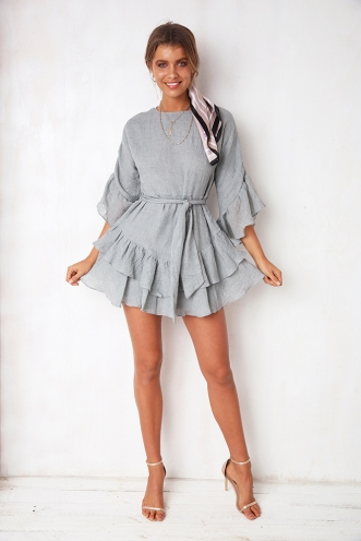 Fling In Tennessee Dress - Grey