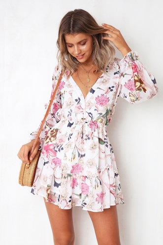 Meant To Be dress - White/Pink Print