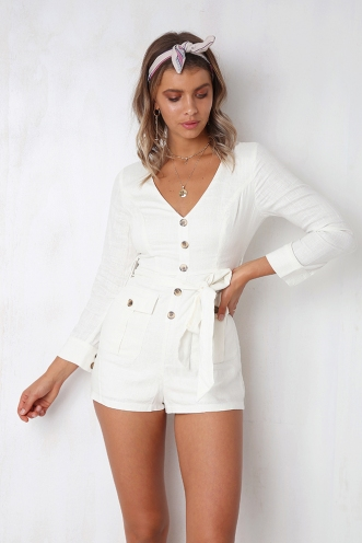 Going Solo Playsuit - White