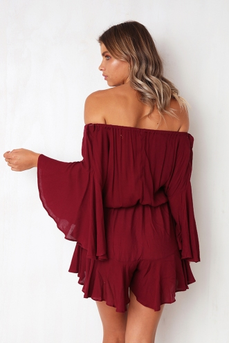 Not Alone Playsuit - Wine