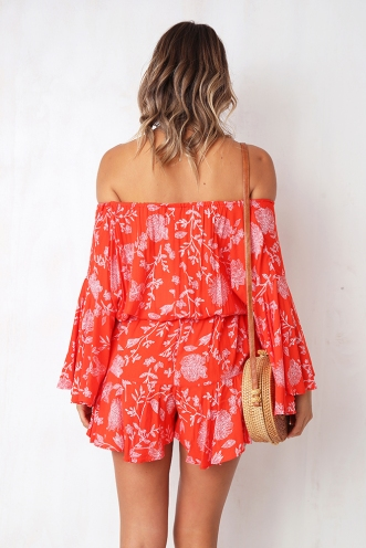 Emelia Playsuit - Red Print