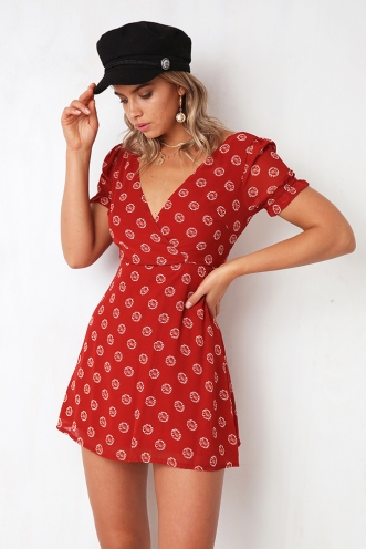 Sit And Chat Dress - Rust Red Print