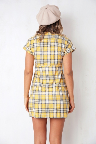 The Best Way Dress - Yellow Check