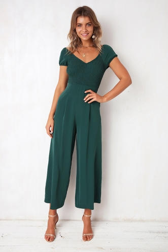 Sweetheart Jumpsuit - Forest Green