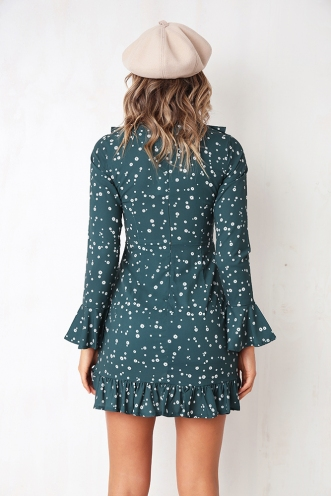 Up and Down Dress - Green Print