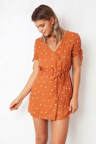 Here's My Number Dress - Orange Spot
